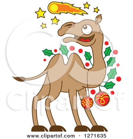 Clipart of a Christmas Camel Decked out in Baubles and Holly, Watching a Comet in the Sky - Royalty Free Vector Illustration by Zooco