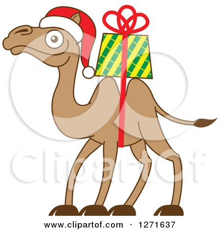 Clipart of a Christmas Camel with a Gift Strapped on His Back - Royalty Free Vector Illustration by Zooco