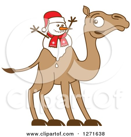 Clipart of a Melting Christmas Snowman on a Camel's Back - Royalty Free Vector Illustration by Zooco
