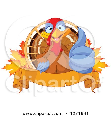 Clipart of a Cute Thanksgiving Turkey Bird Giving a Thumb up over Autumn Maple Leaves and a Banner - Royalty Free Vector Illustration by Pushkin