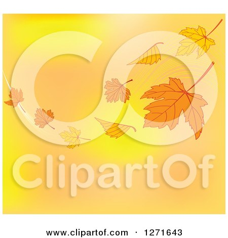 Clipart of a Background of Floating Autumn Leaves and a Breeze over Gradient - Royalty Free Vector Illustration by Pushkin