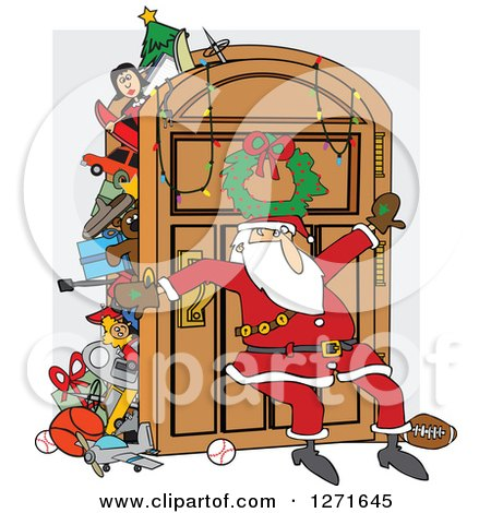Santa Claus Leaning Against An Overflowing Closet Door By Djart