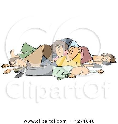 Clipart of a Pile of White People - Royalty Free Vector Illustration by djart