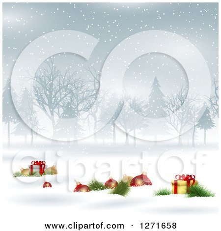 Clipart of a Background with 3d Christmas Baubles and Gifts in the Snow with Trees - Royalty Free Vector Illustration by KJ Pargeter