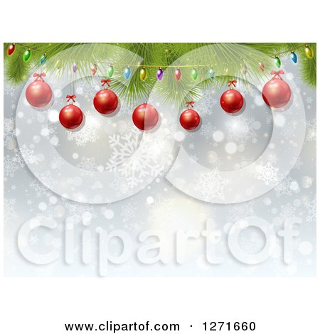 Clipart of a Blue Background with Christmas Lights, Red Baubles, Bokeh and Snowflakes - Royalty Free Vector Illustration by KJ Pargeter