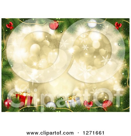 Clipart of a Christmas Background of 3d Baubles, Tree Branches and Gifts over Gold Bokeh and Snowflakes - Royalty Free Illustration by KJ Pargeter