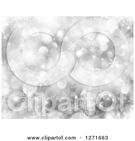 Clipart of a Silver Bokeh and Snowflake Christmas Background - Royalty Free Illustration by KJ Pargeter