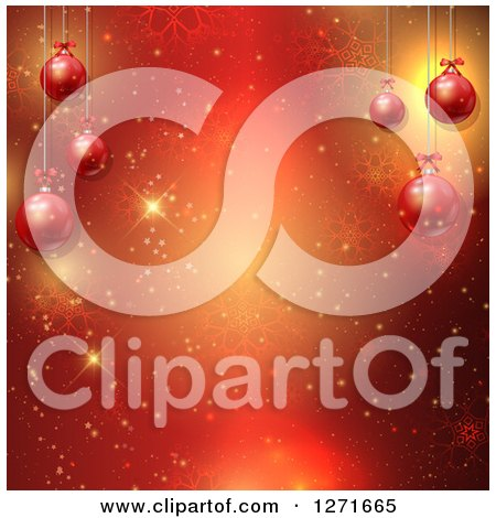 Clipart of a Red Background with 3d Christmas Baubles, Flares and Snowflakes - Royalty Free Vector Illustration by KJ Pargeter