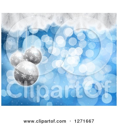 Clipart of a Christmas Background of 3d Silver Baubles over Blue Bokeh and Snow Flocked Tree Branches - Royalty Free Illustration by KJ Pargeter