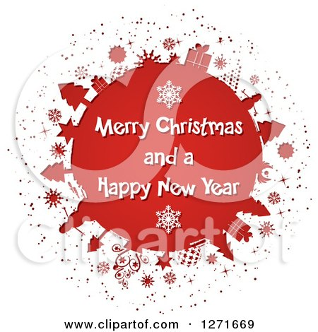 Clipart of a White Paper Cut out Revealing a Red Globe with Trees, Gifts, Snowflakes and Snowmen and White Merry Christmas and a Happy New Year Text - Royalty Free Vector Illustration by KJ Pargeter
