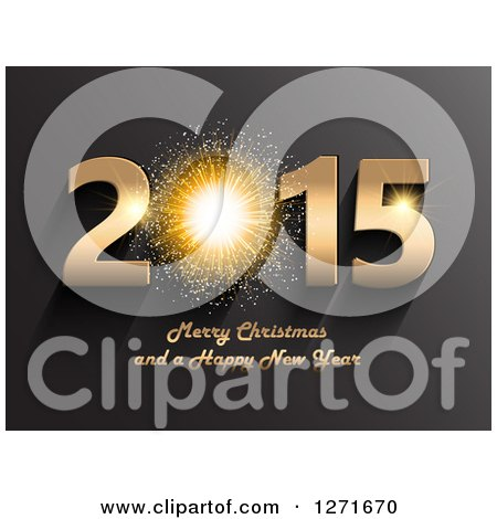 Clipart of a 3d Firework in a Gold 2015 Merry Christmas and a Happy New Year Text on Gradient Black - Royalty Free Vector Illustration by KJ Pargeter