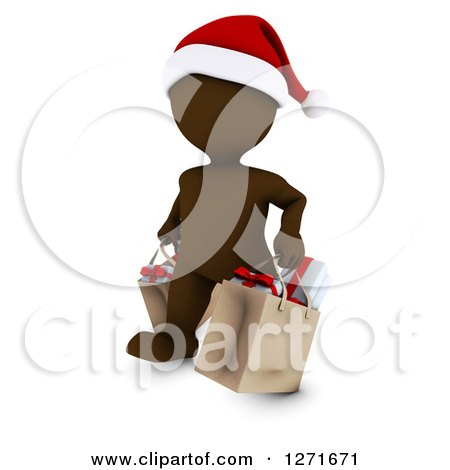 Clipart of a 3d Brown Man Wearing a Santa Hat and Christmas Shopping - Royalty Free Illustration by KJ Pargeter