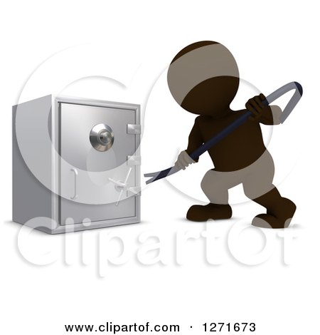 Clipart of a 3d Brown Man Breaking into a Safe Vault with a Crow Bar - Royalty Free Illustration by KJ Pargeter