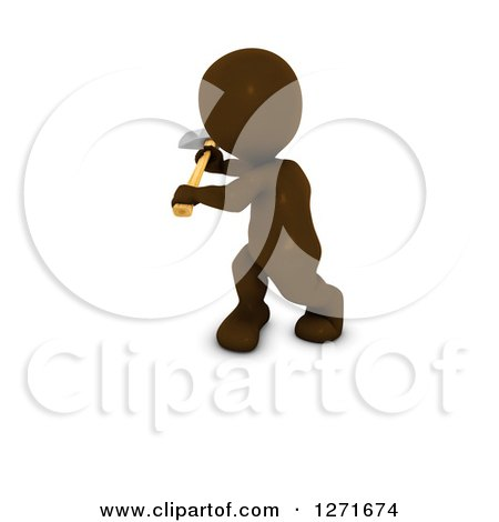 Clipart of a 3d Brown Man Using an Axe, on a White Background - Royalty Free Illustration by KJ Pargeter