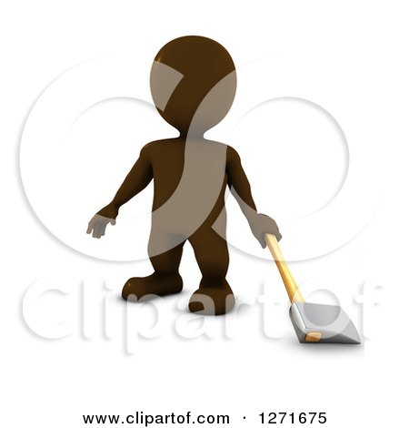 Clipart of a 3d Brown Man Standing with an Axe, on a White Background - Royalty Free Illustration by KJ Pargeter