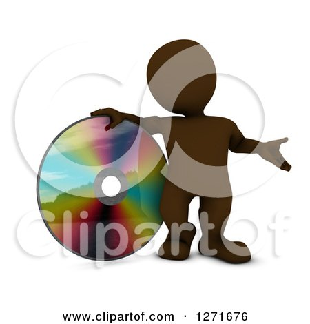 Clipart of a 3d Brown Man Presenting and Standing with a Giant CD, DVD or Blu Ray Disk - Royalty Free Illustration by KJ Pargeter