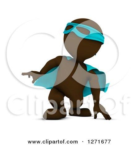 Clipart of a 3d Brown Man Super Hero Landing - Royalty Free Illustration by KJ Pargeter