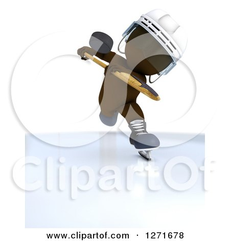 Clipart of a 3d Brown Man Hockey Player Hitting a Puck - Royalty Free Illustration by KJ Pargeter