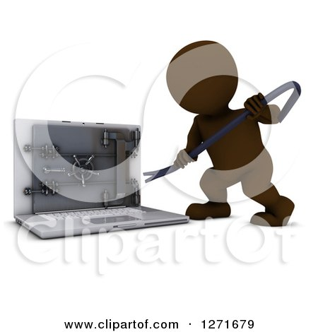 Clipart of a 3d Brown Man Prying Open a Secure Laptop Safe - Royalty Free Illustration by KJ Pargeter