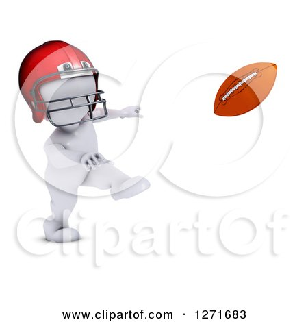 Clipart of a 3d White Man Football Player Throwing - Royalty Free Illustration by KJ Pargeter