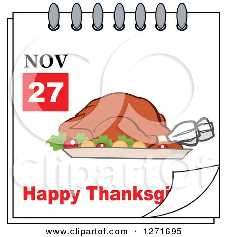 Clipart of a November 27th Happy Thanksgiving Day Calendar with a Roasted Turkey - Royalty Free Vector Illustration by Hit Toon