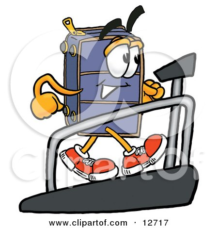 Clipart Picture of a Suitcase Cartoon Character Walking on a Treadmill in a Fitness Gym by Toons4Biz