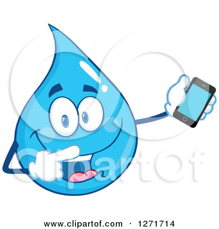 Clipart of a Happy Blue Water Drop Character Holding and Pointing to a Smart Phone - Royalty Free Vector Illustration by Hit Toon