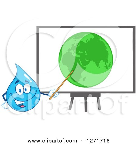 Clipart of a Happy Blue Water Drop Character Presenting Earth on a Board - Royalty Free Vector Illustration by Hit Toon