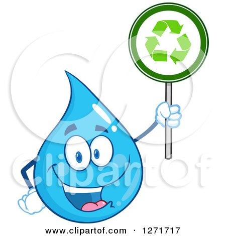 Clipart of a Happy Blue Water Drop Character Holding a Recycle Sign - Royalty Free Vector Illustration by Hit Toon