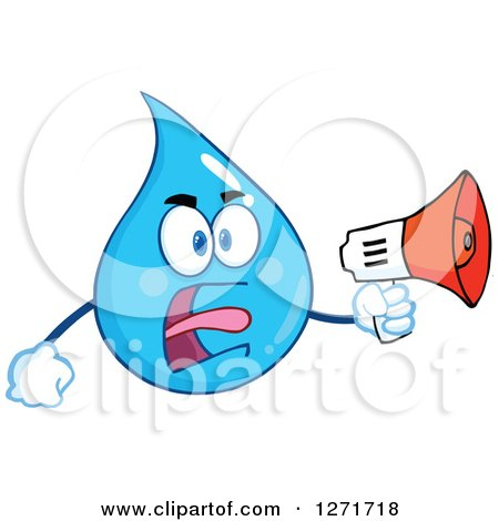 Clipart of a Mad Blue Water Drop Character Yelling Through a Megaphone - Royalty Free Vector Illustration by Hit Toon