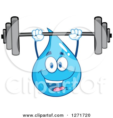 Clipart of a Happy Blue Water Drop Character Working out with a Barbell - Royalty Free Vector Illustration by Hit Toon