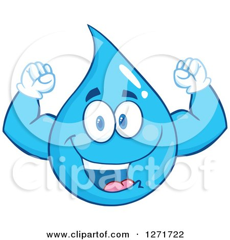 Clipart of a Happy Blue Water Drop Character Flexing His Muscles - Royalty Free Vector Illustration by Hit Toon