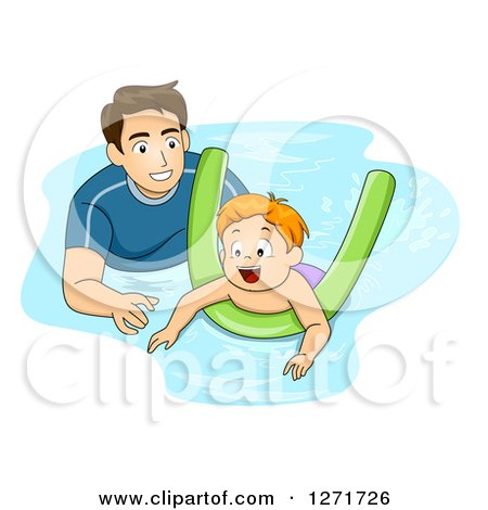 Clipart of a Father or Coach Teaching a Red Haired White Boy How to Swim with a Noodle - Royalty Free Vector Illustration by BNP Design Studio
