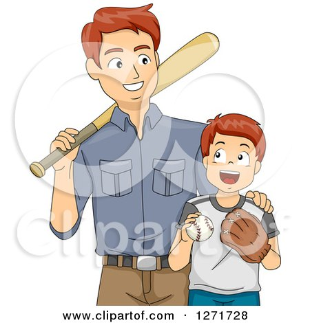 Clipart of a Proud Brunette White Father Teaching His Son How to Play Baseball - Royalty Free Vector Illustration by BNP Design Studio