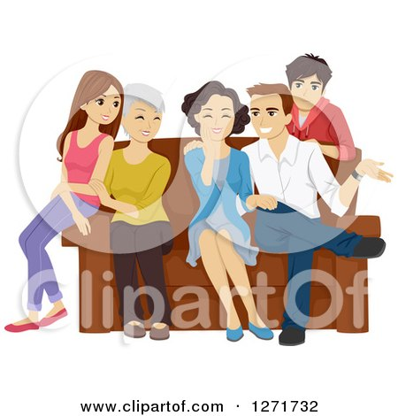 Clipart of a Happy Caucasian Family of Teenagers, Parents and Grandparents Around a Sofa - Royalty Free Vector Illustration by BNP Design Studio