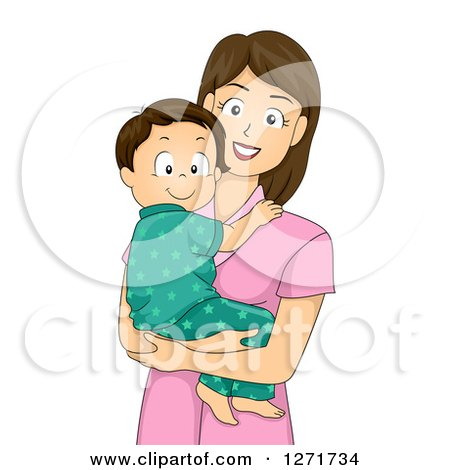 Clipart of a Happy Brunette White Mother Holding Her Toddler Son in Pjs - Royalty Free Vector Illustration by BNP Design Studio