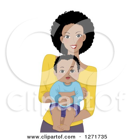Clipart of a Happy Black Mother Holding Her Baby Son - Royalty Free Vector Illustration by BNP Design Studio