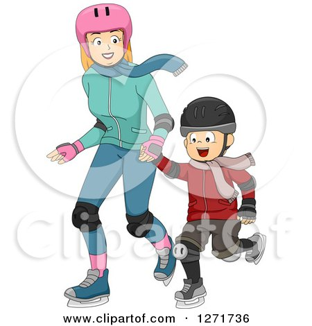 Clipart of a Red Haired White Mother and Son Ice Skating Together - Royalty Free Vector Illustration by BNP Design Studio