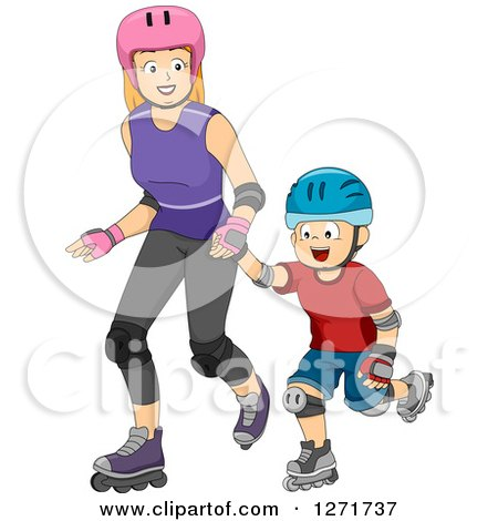 Clipart of a Red Haired White Mother and Son Roller Blading Together - Royalty Free Vector Illustration by BNP Design Studio