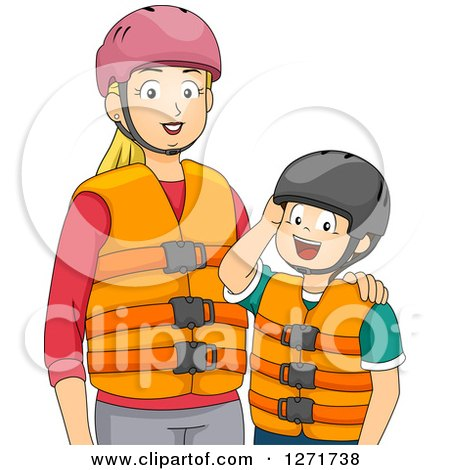 Clipart of a Blond White Mother and Son in Helmets and Life Jackets - Royalty Free Vector Illustration by BNP Design Studio