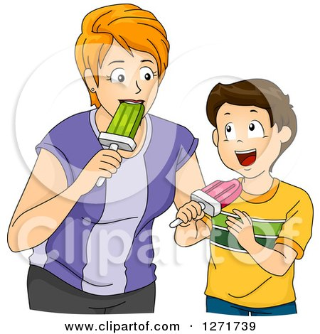 Clipart of a Red Haired White Mother and Brunette Son Eating Popsicles Together - Royalty Free Vector Illustration by BNP Design Studio