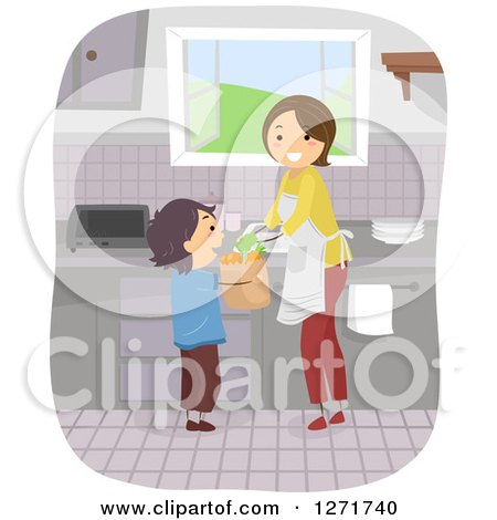 Clipart of a Happy Brunette White Mom and Son with Groceries in a Kitchen - Royalty Free Vector Illustration by BNP Design Studio