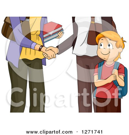 Clipart of a Happy Red Haired White Boy Watching His Mother and Teacher Shake Hands - Royalty Free Vector Illustration by BNP Design Studio