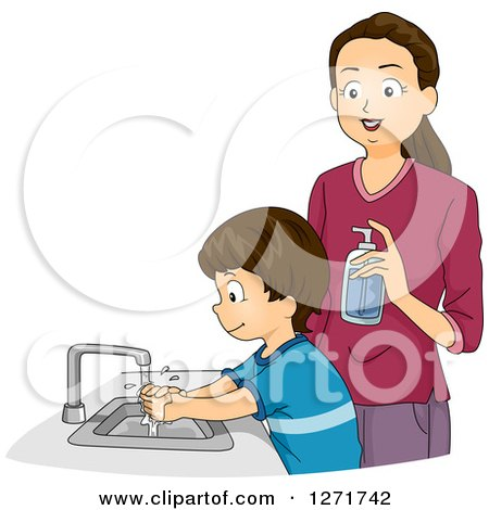 Clipart of a Brunette White Mother Supervising Her Son As He Washes His Hands - Royalty Free Vector Illustration by BNP Design Studio