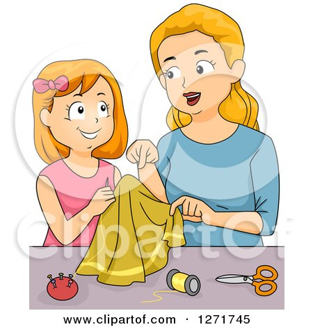 Clipart of a Blond White Mother and Red Haired Daughter Sewing - Royalty Free Vector Illustration by BNP Design Studio