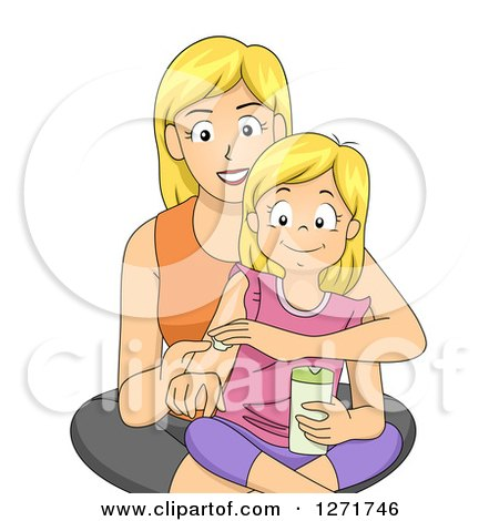 Clipart of a Happy Blond White Mother Teaching Her Daughter About Skin Care - Royalty Free Vector Illustration by BNP Design Studio