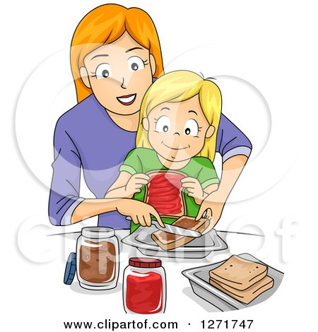 Clipart of a Red Haired White Mother Teaching Her Blond Daughter How to Make Peanut Butter and Jelly Sandwiches - Royalty Free Vector Illustration by BNP Design Studio