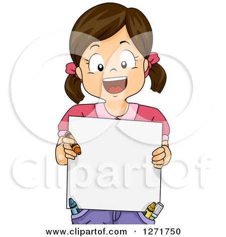 Clipart of a Happy Brunette White Girl Holding a Crayon and Blank Board - Royalty Free Vector Illustration by BNP Design Studio