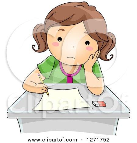 Clipart of a Sad Brunette White School Girl Taking an Exam - Royalty Free Vector Illustration by BNP Design Studio