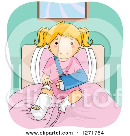Clipart of a Sad Blond White Girl with a Broken Leg and Arm, Sitting on a Bed - Royalty Free Vector Illustration by BNP Design Studio